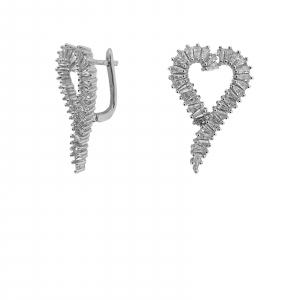 Cercei Argint in forma de inima cu zirconii albe [1]