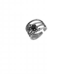 Inel Argint 925% cu aspect vintage si black cubic zirconia [0]