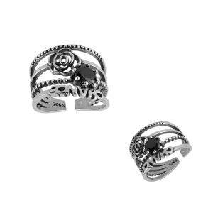 Inel Argint 925% cu aspect vintage si black cubic zirconia [1]