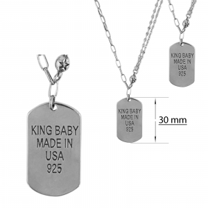 Lant Argint 925% cu placuta gravata-King Baby [1]