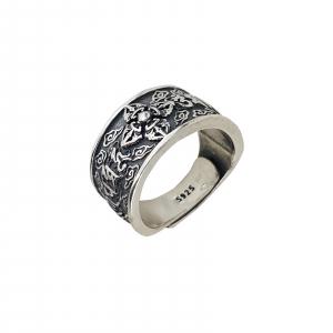 Inel Argint 925%, reglabil, cu simboluri [0]