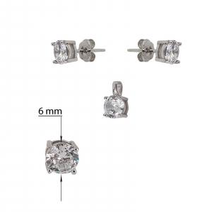 Set Argint 925% cu CZ albe de 6mm [2]