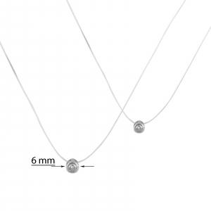 Colier Argint 925% pe silicon transparent cu zirconia de 6mm [1]