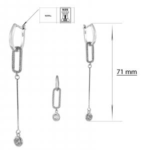 Cercei Argint 925% lungi cu zirconia alb [2]