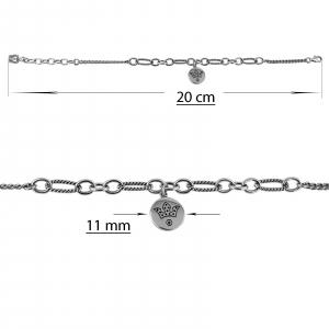 Bratara Argint 925% usor antichizata si cu un banut mobil atasat [1]