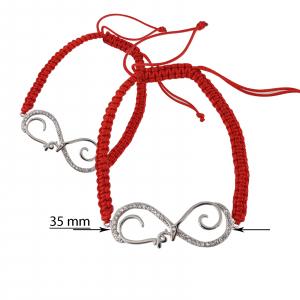 Bratara Argint 925% infinit stilizat cu snur rosu [1]