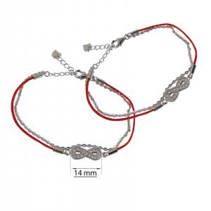 Bratara Argint 925% dubla cu snur rosu si infinit [1]