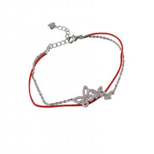 Bratara Argint 925% pe snur rosu cu fluturasi [0]