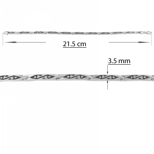 Bratara Argint 925% pentru barbati din placute cu simboluri gravate [2]