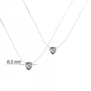 Colier Argint 925% pe silicon transparent cu inimioara [1]