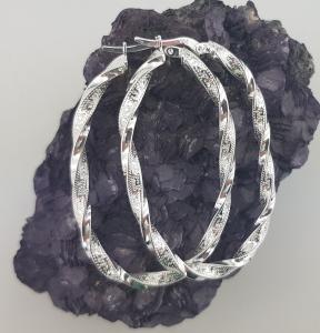 Cercei Argint 925%,creole rasucite cu model grecesc 2201 [1]