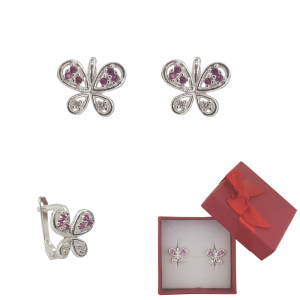 Cercei Argint fluturas cu cristale de zirconia rubinii,cod 2341R [0]