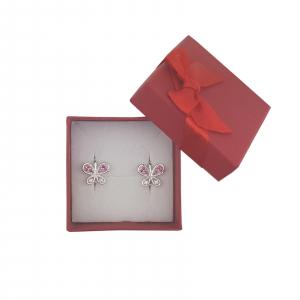 Cercei Argint fluturas cu cristale de zirconia rubinii,cod 2341R [1]