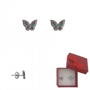 Cercei Argint fluturas cu zirconia multicolore, cod 2351A [0]