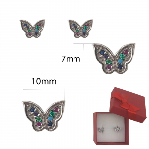 Cercei Argint fluturas cu zirconia multicolore, cod 2351A [1]