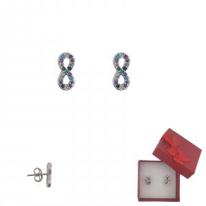 Cercei Argint infinit cu cristale multicolore, cod 2350 [0]