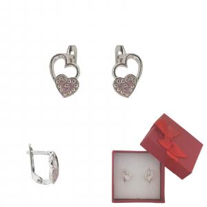Cercei Argint inimioara roz ,cod 2345 [0]