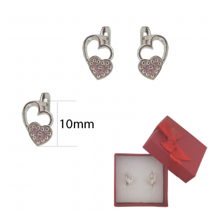 Cercei Argint inimioara roz ,cod 2345 [1]