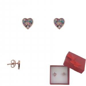 Cercei Argint inimioara rose-gold ,cod 2347RS [0]
