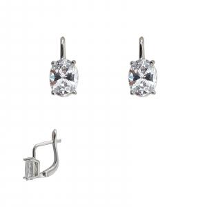 Cercei Argint cu un zirconia oval si inchidere frantuzeasca 2239 [0]