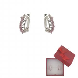 Cercei Argint cu motiv grecesc si cristale zirconia roz,cod 2346R [0]