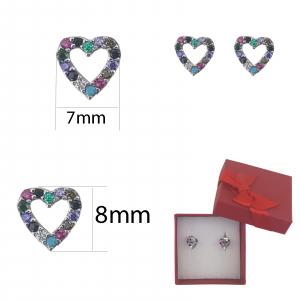 Cercei inimioara decupata cu zirconia multicolore,cod 2347A [1]