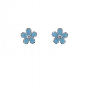 Cercei Argint 925% , floricica cu email albastru [0]
