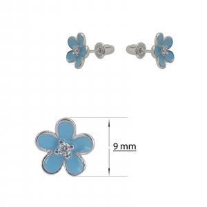 Cercei Argint 925% , floricica cu email albastru [1]