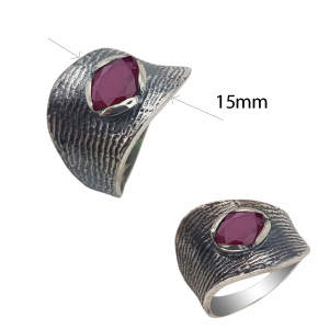 Inel Argint antichizat cu piatra rubinie ,cod 1539A [2]