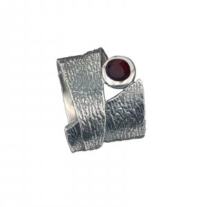 Inel Argint-Antracit cu piatra rubinie,cod 1540 [0]