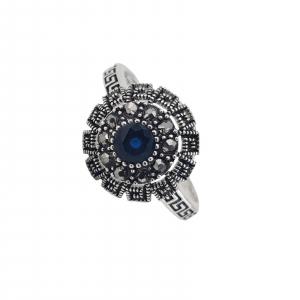 Inel Argint cu marcasite si piatra albastra centrala ,cod 1985B [0]