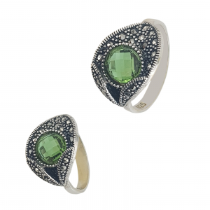 Inel Argint 925% cu marcasite si zirconiu verde [0]