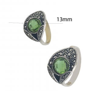 Inel Argint 925% cu marcasite si zirconiu verde [2]