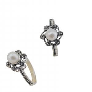 Inel Argint 925% cu marcasite si perla, cod 1991 [0]