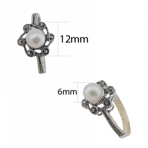 Inel Argint 925% cu marcasite si perla, cod 1991 [1]