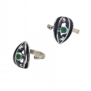 Inel Argint 925%  usor antichizat si piatra verde 2158 [1]