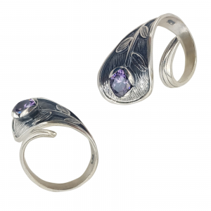Inel Argint 925% antichizat cu zirconiu mov-2160 [2]