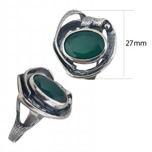 Inel Argint 925%  patinat cu piatra verde-2157 [2]