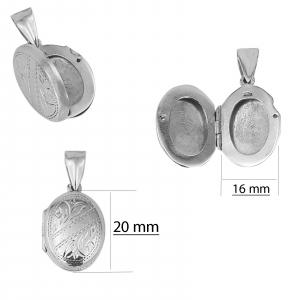 Medalion Argint 925% care se deschide, de forma ovala [2]