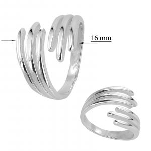 Inel Argint 925% reglabil Double Nail [2]