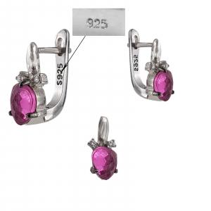 Set Argint 925% cu zirconii roz-ciclamen [1]