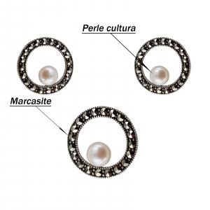 Set Argint 925% cu perle de cultura si marcasite [3]