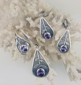 Inel Argint 925% antichizat cu zirconiu mov-2160 [4]