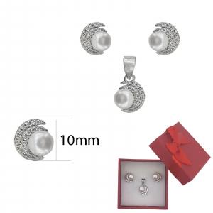 Set Argint cu zirconia si perla de cultura,cod 2364 [1]