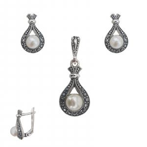 Set Argint cu marcasite si perla, cod 2285 [0]