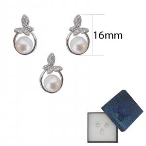 Set Argint perla cultura si zirconia, cod 2383 [1]