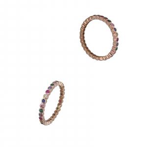 Inel Argint 925% rose-gold cu zirconii colorate [0]