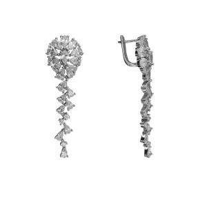 Cercei Argint lungi cu zirconii albe [1]