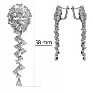 Cercei Argint lungi cu zirconii albe [3]