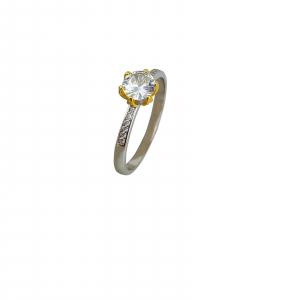 Inel Argint 925% bicolor cu un zirconiu alb [1]
